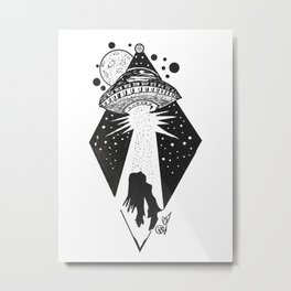 """Taken"" UFO Alien Abduction Originl Artwork, Parnormal, Outer Space Wall Art Metal Print"