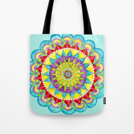 Mandala of Many Colors on Turquoise Tote Bag