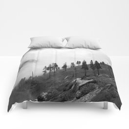 Mountains, Valleys and Forests. Yosemite National Park, Black and White Photography, Clouds and Fog Comforters