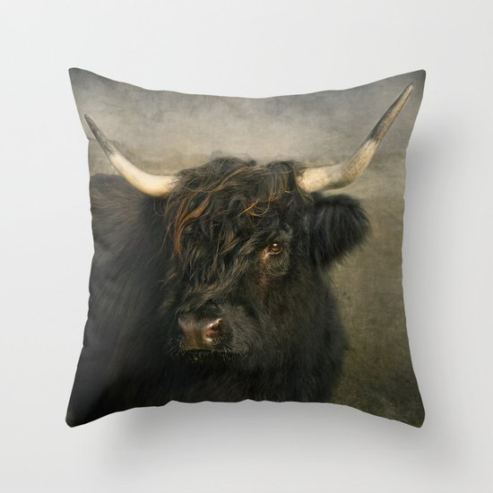 The Black Cow Throw Pillow