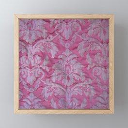 Vintage old damask textile Framed Mini Art Print