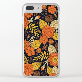 Retro Orange, Yellow, Brown, & Navy Floral Pattern Clear iPhone Case