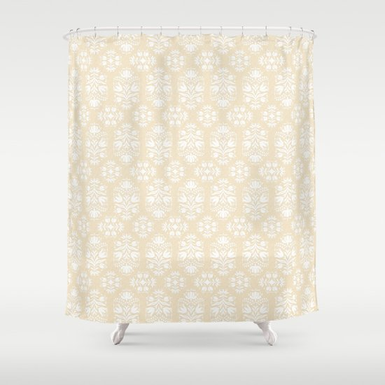 Burlap and Damask Shower Curtain