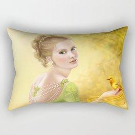 Beautiful romantic woman and fantasy gold bird Rectangular Pillow