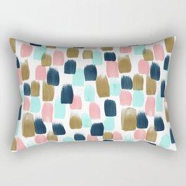 Pink, Mint, Navy & Gold Abstract Print, Nursery Art, Little Girls Room Rectangular Pillow