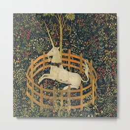 The Unicorn in Captivity (from the Unicorn Tapestries) 1495–1505 Metal Print