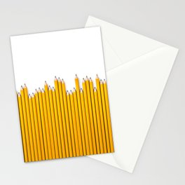 Pencil row / 3D render of very long pencils Stationery Cards
