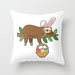 Easter Sloth Throw Pillow