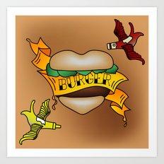 Burger Tattoo Art Print
