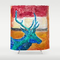 rothko Shower Curtains featuring Deer Rothko by winterkl