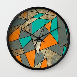 Modern Rustic Orange Teal and Gray Gold Geometric Wall Clock