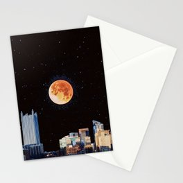 Blood Moon Over Pittsburgh Pennsylvania Skyline-Night Sky and Stars Stationery Cards