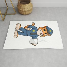 Tiger as Police officer with Police hat and Drink Rug