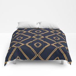 Modern Boho Ogee in Navy & Gold Comforters