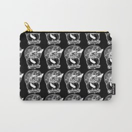 Black Cat Cauldron Wood Caring Illustration in Black Carry-All Pouch