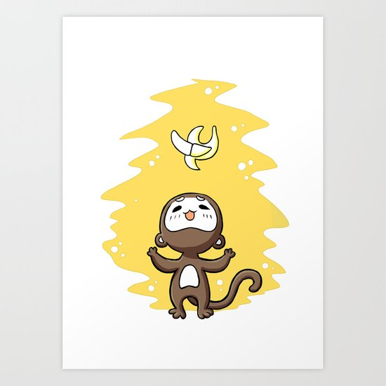 Monkey Banana Art Print