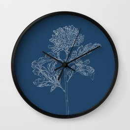 Chrysanthemum Blueprint Wall Clock