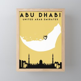ABU DHABI UAE LOVE CITY SILHOUETTE SKYLINE ART Framed Mini Art Print