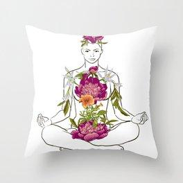 beautiful woman doing yoga meditation Throw Pillow