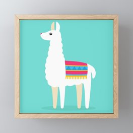 Cute Llama vector illustration colorful Framed Mini Art Print