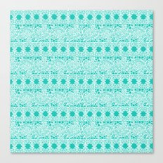 Lacey Lace - White Teal Canvas Print