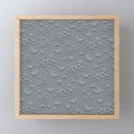 Flowers & butterflies in gray Framed Mini Art Print