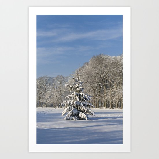 Snowy Christmas Tree Art Print