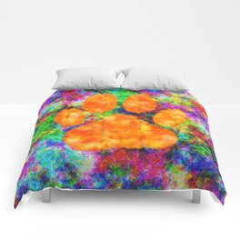 Dog Paw Print Watercolor Comforters