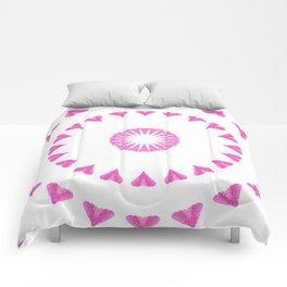 PINK HEART MANDALA Comforters