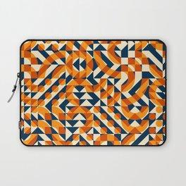 Orange Navy Color Overlay Irregular Geometric Blocks Square Quilt Pattern Laptop Sleeve