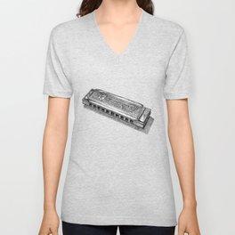 Harmonica in Black and White Dot Art Unisex V-Neck