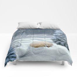 Sleeping polar fox Comforters