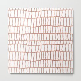 Abstract geometrical faux rose gold stripes Metal Print