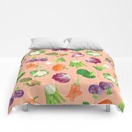 Peach pink veggies illustration pattern | Vegetables pattern Comforters