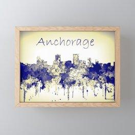 Anchorage city skyline blue yellow Framed Mini Art Print
