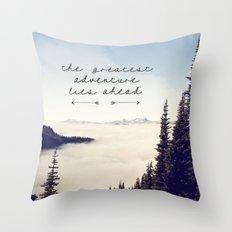 the greatest adventure- mountains Throw Pillow