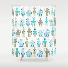 8bit robots Shower Curtain