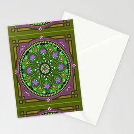 Boho Floral Crest Olive Stationery Cards
