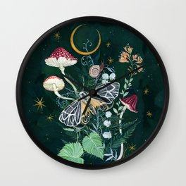 Mushroom night moth Wall Clock