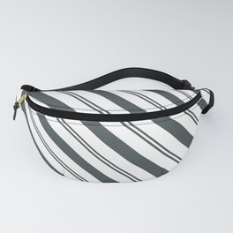 PPG Night Watch Pewter Green  and Dark Green Stripes Angled Lines Fanny Pack