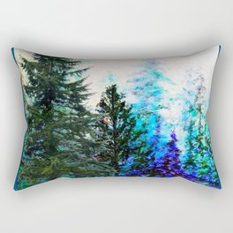 TEAL COLOR  MOUNTAIN  PINE FOREST LANDSCAPE Rectangular Pillow