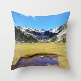 Mountains reflected in the shallow water Throw Pillow