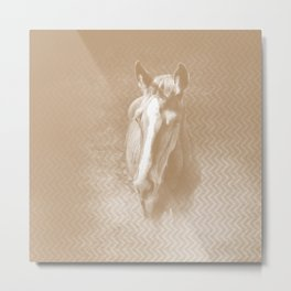 Horse emerging from the mist in iced coffee beige Metal Print
