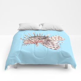 Watercolor Lionfish Tropical Fish Marine Life Painting Comforters