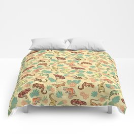Gecko family in yellow Comforters