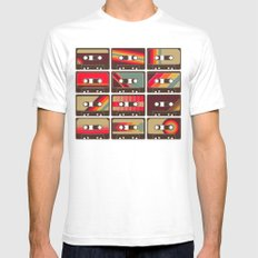 Mixed Tapes SMALL Mens Fitted Tee White