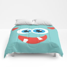 Horny blue monster Comforters