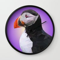 puffin Wall Clocks featuring Puffin by Superieur Graphique