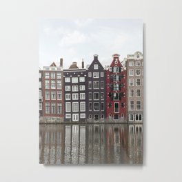 Buildings In Amsterdam City Picture   Dutch Canals Colorful Architecture Art Print   Europe Travel Photography Metal Print