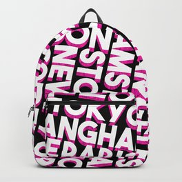 City names typo graphic - black, white, pink Backpack